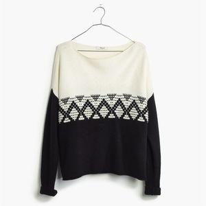 Madewell Contrast Fair Isle Pullover Wool Sweater